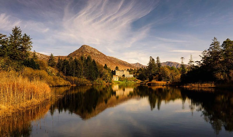 Ballynahinch Castle across the lake