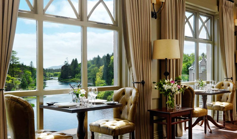 View from Owenmore's Restaurant at Ballynahinch Castle