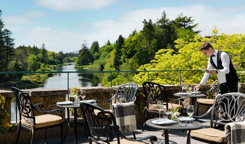 Restaurant terrace at Ballynahinch Castle