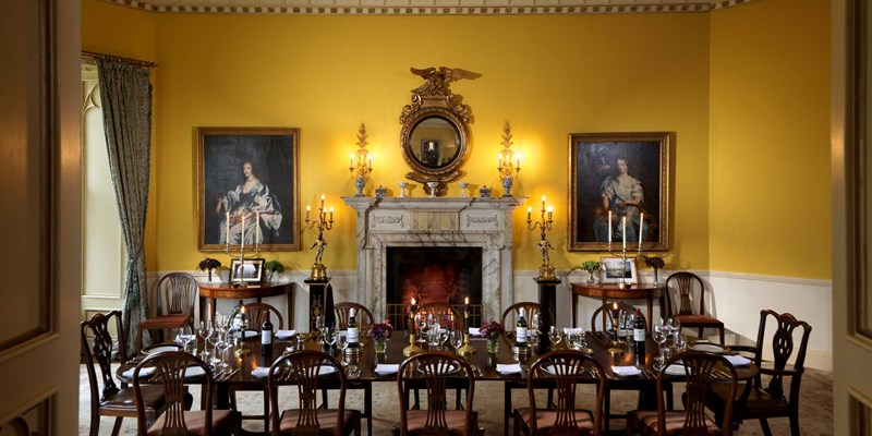 Dining room at Lough Cutra Castle